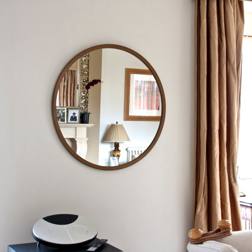 Image of Modern Bronze Round Mirror