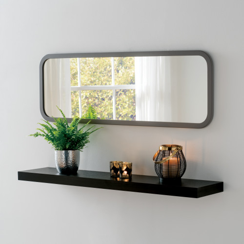 Image of Modern Dark Grey Oblong Mirror