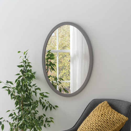 Image of Modern Oval Dark Grey Mirror