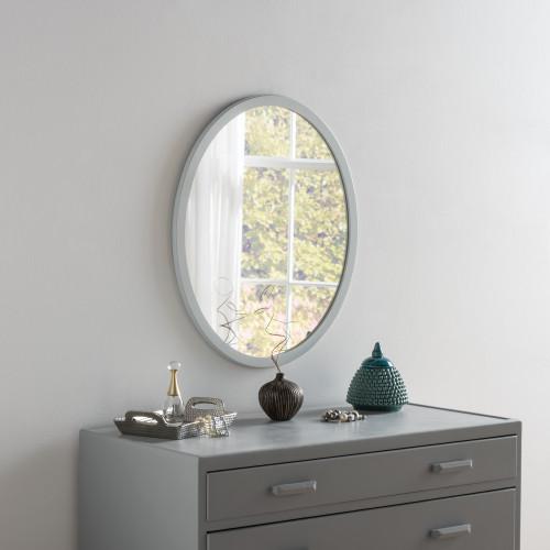 Image of Modern Oval Light Grey Mirror