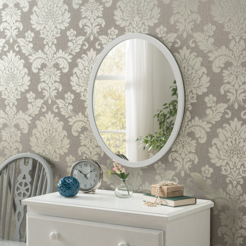 Image of Modern Oval White Mirror