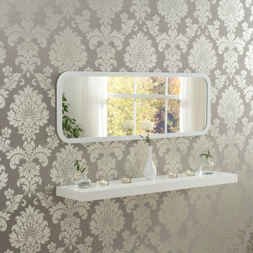 Image of Modern White Oblong Mirror
