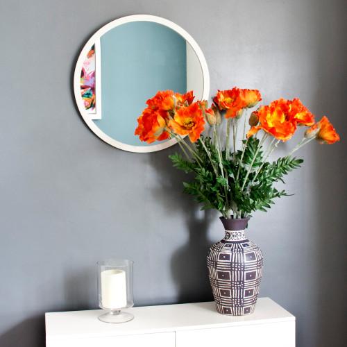 Image of Modern White Round Mirror