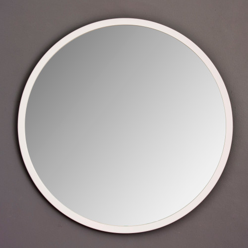 Image of Modern White Round Mirror