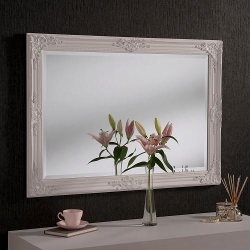 image of ornamental white mirror