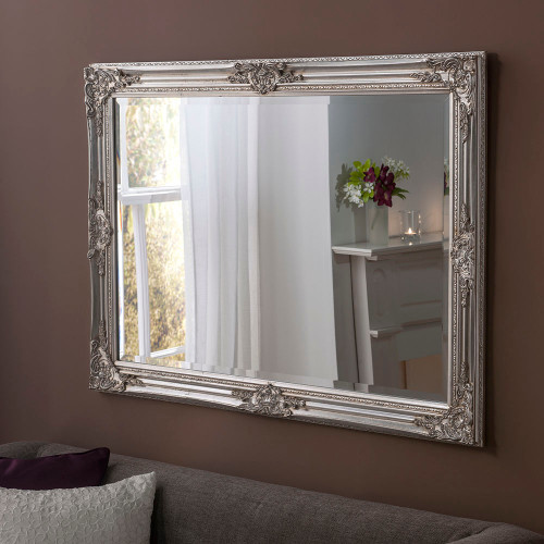 Image of ornamental silver mirror