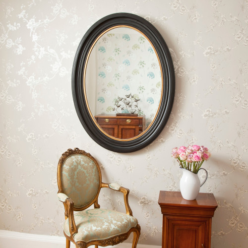 Image of Oval Black and Gold Mirror