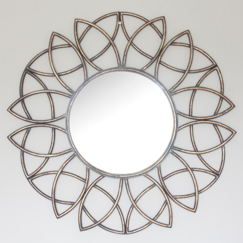 Image of Palloma Metal Bronze Flower Mirror