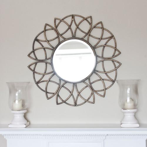 Image of Palloma Metal Bronze Flower Mirror