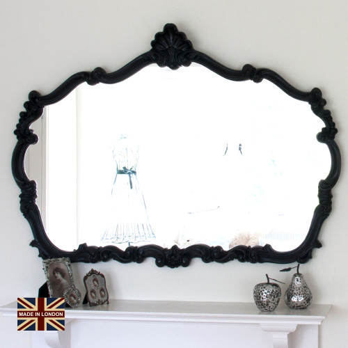 Image of Renaissance Black Overmantle Mirror
