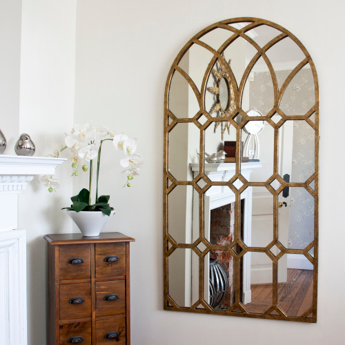 Image of Rustic Gold Metal Window Mirror