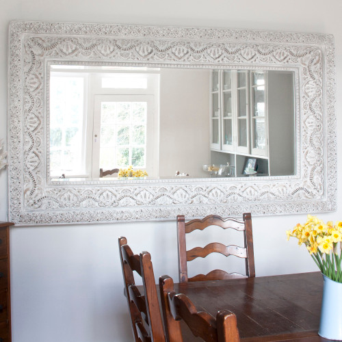 Image of Shabby Chic Whitewashed Mirror