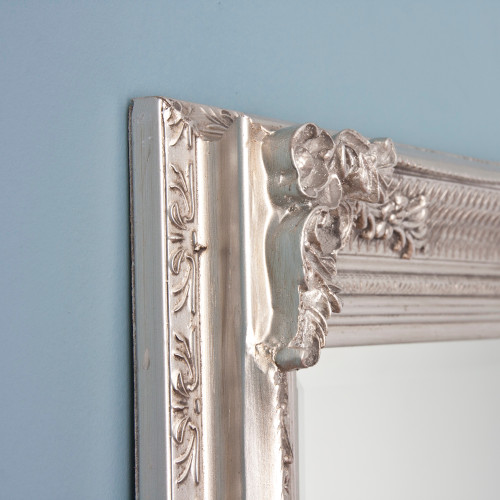 Image of Silver Antiqued Hatched Mirror