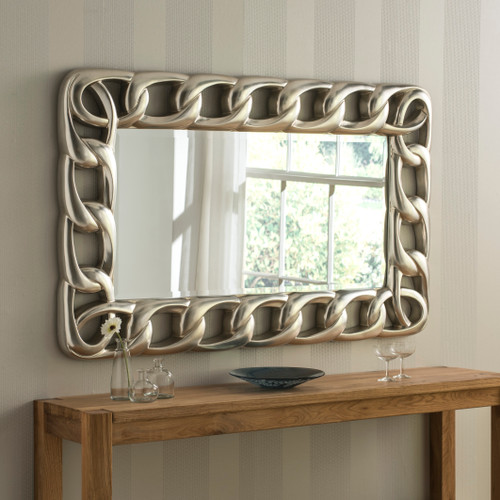 Silver Rectangular Wavy Mirror