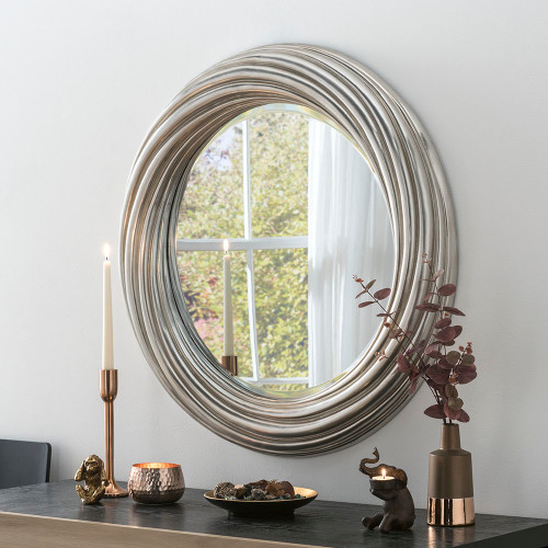 Image of silvery wavy mirror