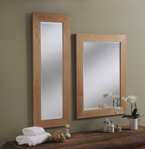 Image of Solid Light Oak Wooden Mirror