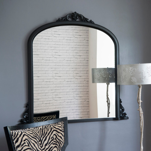 Image of Victoria Black Overmantle Mirror
