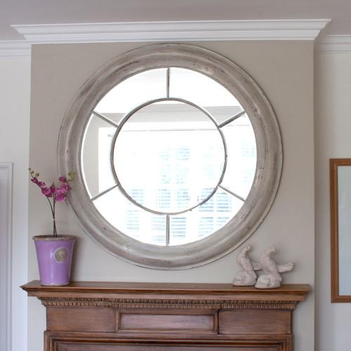 Image of White Washed Round Mirror