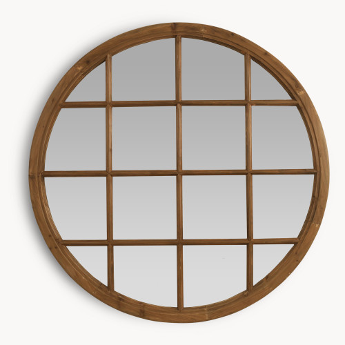 Image of Brookby Natural Wood Round Mirror