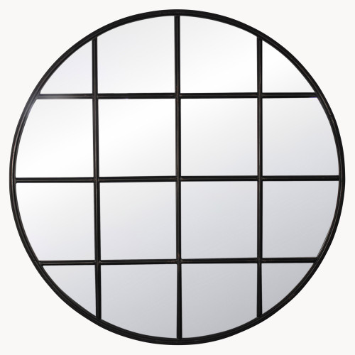 Image of Brookby Round Industrial Black Iron Mirror