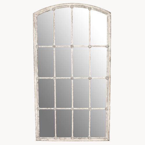Image of Fairfield Distressed White Iron Mirror