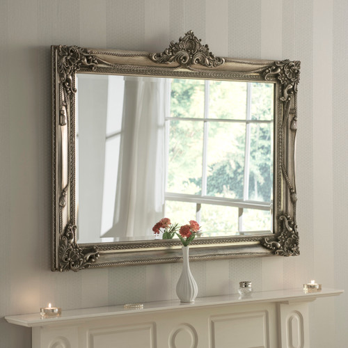 Image of Antiqued silver flourish mirror