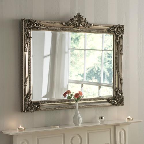 Image of Antiqued silver flourish mirror