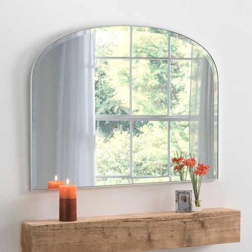 Image of minimal edge silver mantle mirror