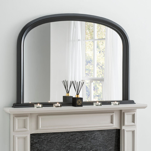 Image of Arched Black overmantle mirror