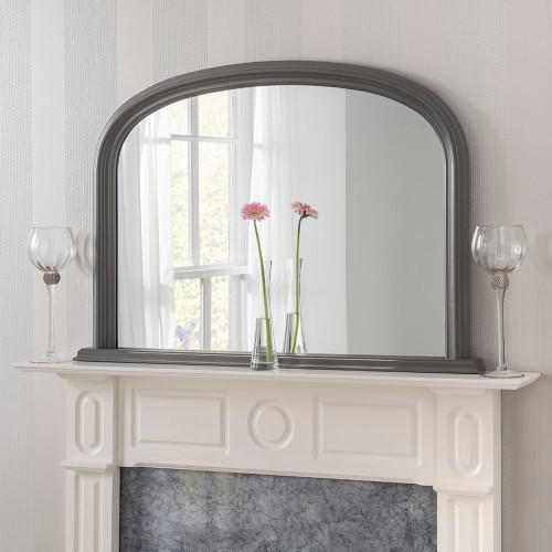 image of dark grey arched overmantle mirror