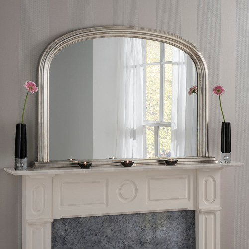 Image of arched silver overmantle mirror