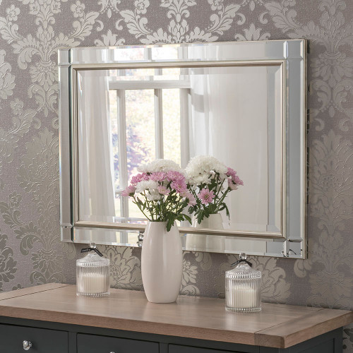 Image of bevelled champagne framed mirror