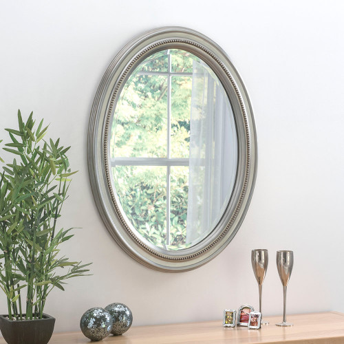 Image of beaded silver mirror