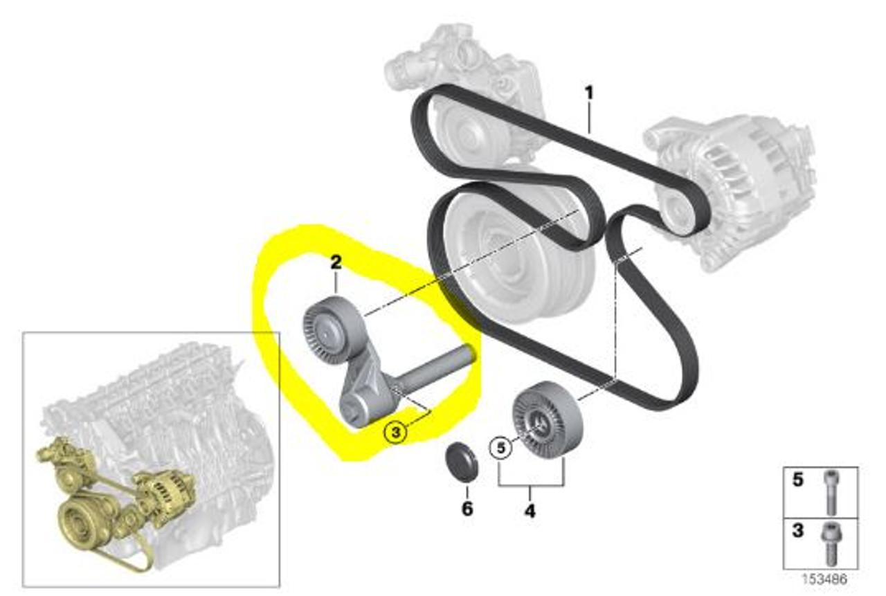 Drive Belt Tensioner for BMW X5 35D  Fits: 2009-2013 - 07129905516