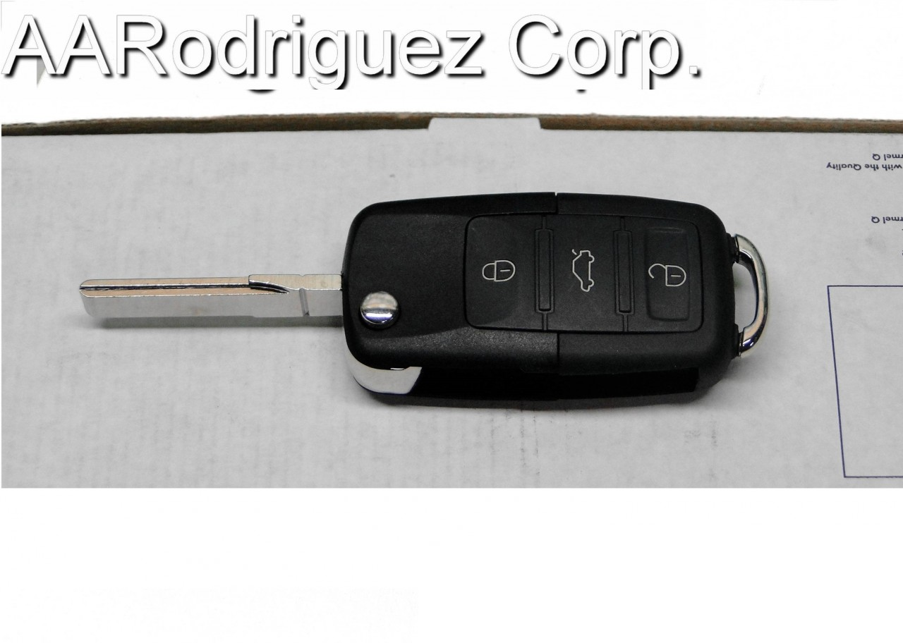 Squared Button Key FOB for VW / Audi, 3 Button + Panic  ( Includes Chip and Electronics )