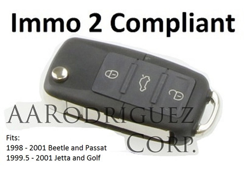 Immo 2 Compliant Key Fob for 1999.5 - 2001 Jetta and Golf. Immo 2 Key Fob for 1998 - 2001 Beetle and Passat.