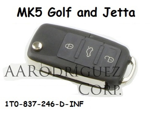MK5 Golf/Jetta Key FOB - 1T0-837-246-D-INF with remote 753-P (1T0-837-246-D-INF + AAR-remote)