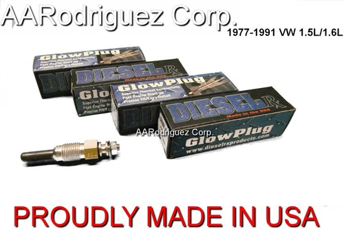 DieselRX DRX00069 Glow Plugs for 1977-1992  VW, Audi, and Volvo cars (Set of 4)