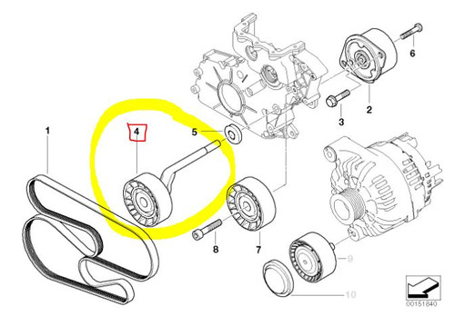 Drive Belt Tensioner for BMW 335D Fits: 2009-2011- 11287807021