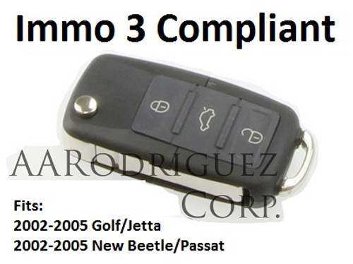 Squared Button Key FOB for VW / Audi, 3 Button + Panic  ( Includes Chip and Electronics)