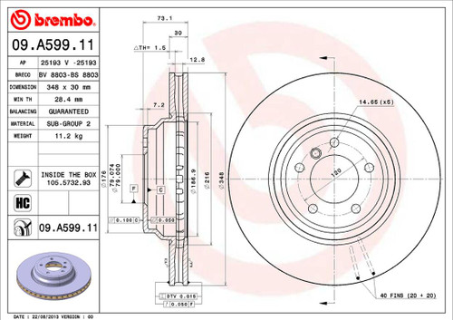 Brembo Front Rotor for E90 335D - 1 Quantity AAR2630