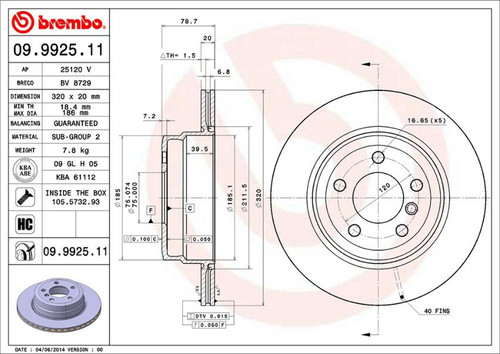 Brembo Rear Rotor for E70 X5 35D - 1 Quantity AAR2631