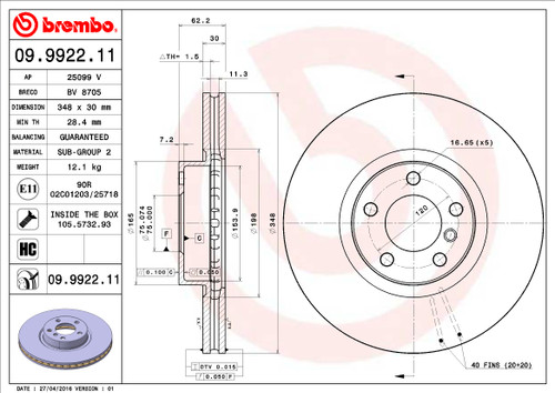 Brembo Front Rotor for E70 X5 35D - 1 Quantity AAR2632