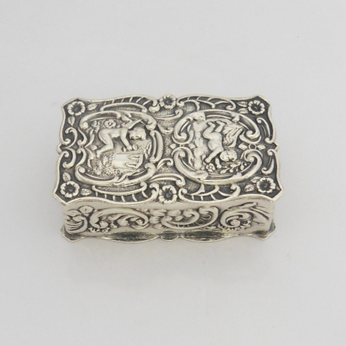 Charming silver Trinket / Pill Box decorated with ornate scrolls, hallmarked London1975 A Chick & Sons Ltd