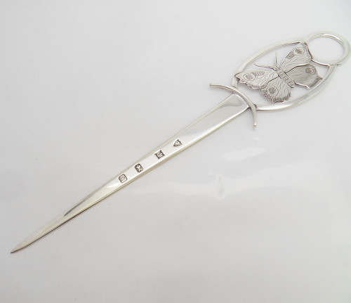 Stylish Butterfly Silver Letter Opener with feature hallmarks Birmingham 1990 by  J B Chatterley & Sons Ltd