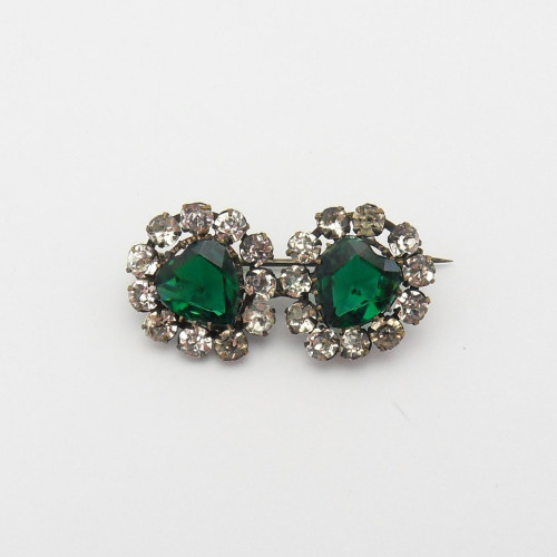 Victorian rose cut faux emerald and diamante hearts brooch