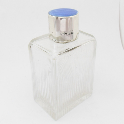 Beautiful silver and enamel topped glass scent bottle hallmarked Birmingham 1939 by Walker & Hall