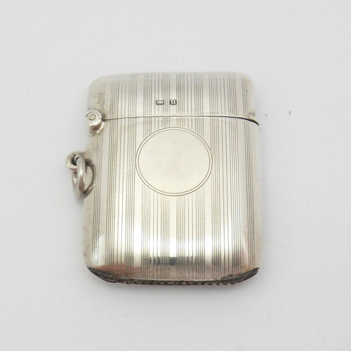 Silver Vesta case with engine turned decoration hallmarked Birmingham 1919 BY  Deakin & Francis Ltd