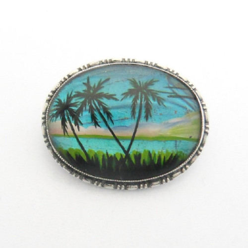 Vintage tropical island butterfly wing brooch marked TLM Sterling England (Thomas L. Mott) c.1930s
