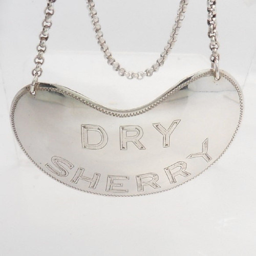 Vintage silver Dry Sherry decanter label hallmarked Dublin 1971